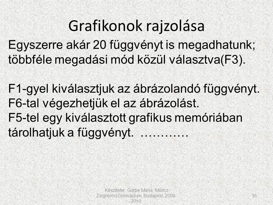 Grafikonok rajzolása Készítette: Görbe Mária, Móricz Zsigmond Gimnázium, Budapest, 2009- 2010. 36 Egyszerre akár 20 függvényt is megadhatunk; többféle