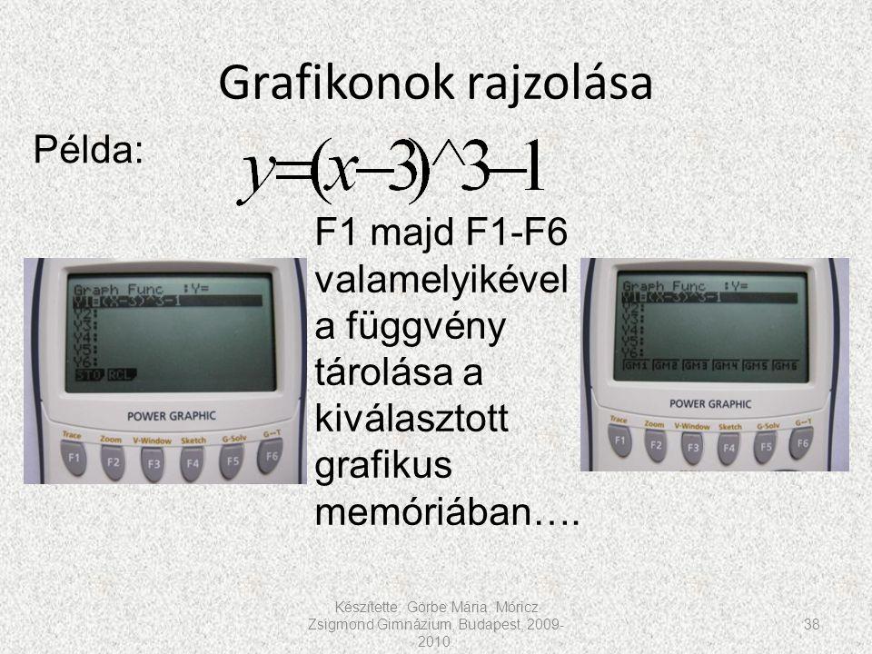 Grafikonok rajzolása Készítette: Görbe Mária, Móricz Zsigmond Gimnázium, Budapest, 2009- 2010. 38 Példa: F1 majd F1-F6 valamelyikével a függvény tárol
