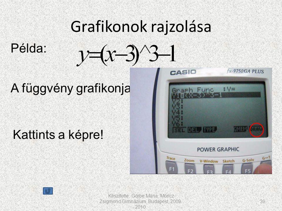 Grafikonok rajzolása Készítette: Görbe Mária, Móricz Zsigmond Gimnázium, Budapest, 2009- 2010. 39 Példa: A függvény grafikonja Kattints a képre!