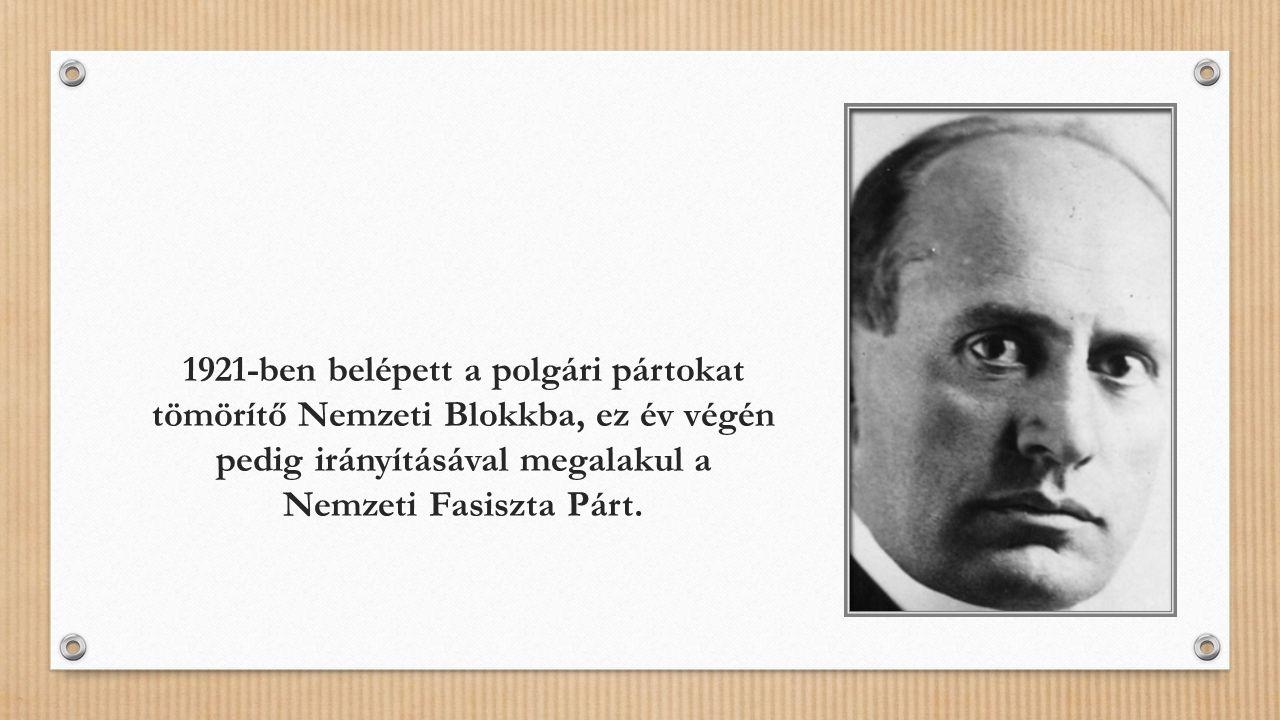 1921-ben belépett a polgári pártokat tömörítő Nemzeti Blokkba, ez év végén pedig irányításával megalakul a Nemzeti Fasiszta Párt.