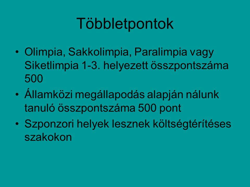 Többletpontok Olimpia, Sakkolimpia, Paralimpia vagy Siketlimpia 1-3.