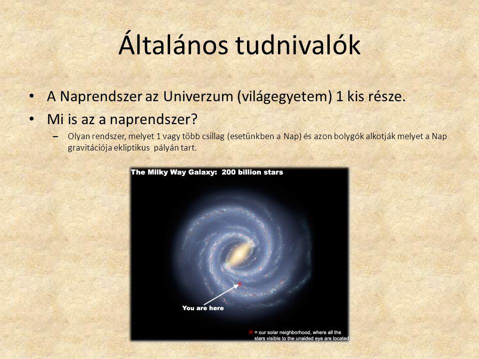 Általános tudnivalók A Naprendszer az Univerzum (világegyetem) 1 kis része.