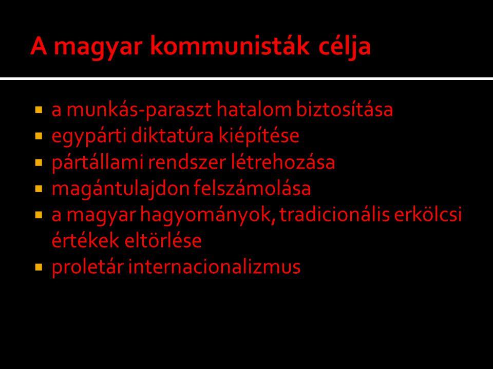  a munkás-paraszt hatalom biztosítása  egypárti diktatúra kiépítése  pártállami rendszer létrehozása  magántulajdon felszámolása  a magyar hagyom