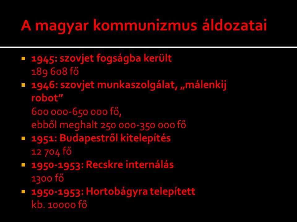""" 1945: szovjet fogságba került 189 608 fő  1946: szovjet munkaszolgálat, """"málenkij robot"""" 600 000-650 000 fő, ebből meghalt 250 000-350 000 fő  195"""