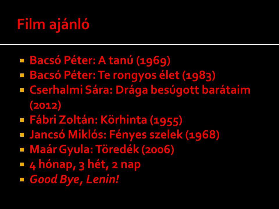  Bacsó Péter: A tanú (1969)  Bacsó Péter: Te rongyos élet (1983)  Cserhalmi Sára: Drága besúgott barátaim (2012)  Fábri Zoltán: Körhinta (1955) 