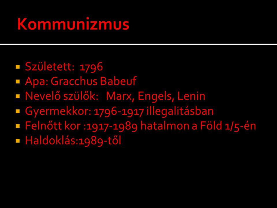  Született: 1796  Apa: Gracchus Babeuf  Nevelő szülők: Marx, Engels, Lenin  Gyermekkor: 1796-1917 illegalitásban  Felnőtt kor :1917-1989 hatalmon