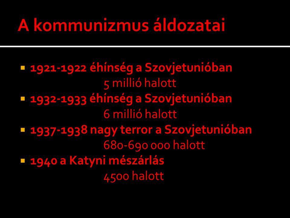  1921-1922 éhínség a Szovjetunióban 5 millió halott  1932-1933 éhínség a Szovjetunióban 6 millió halott  1937-1938 nagy terror a Szovjetunióban 680