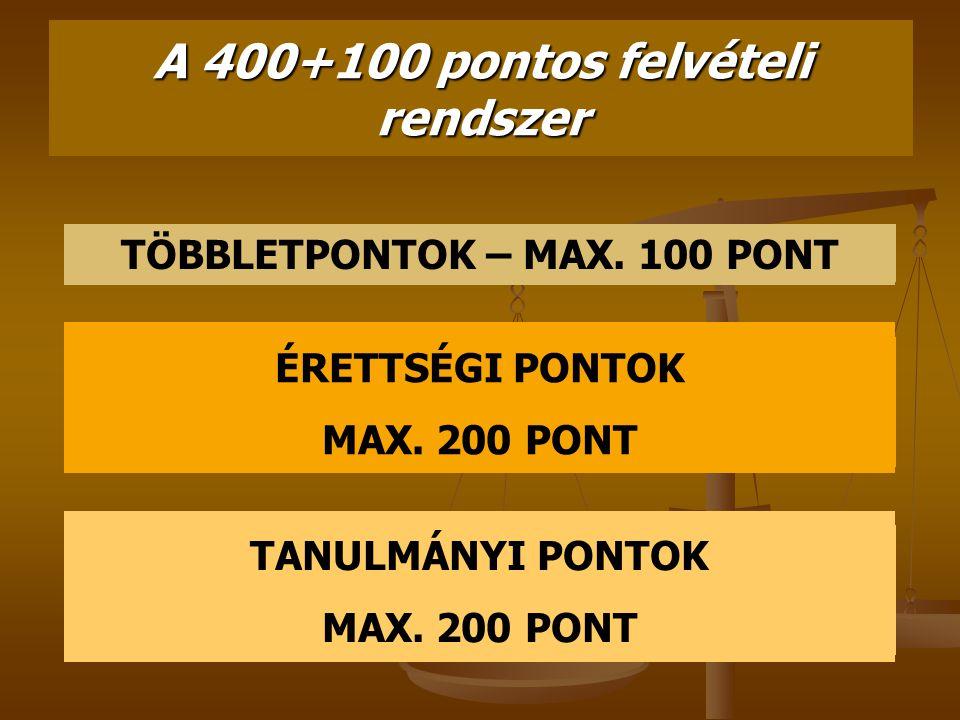 A 400+100 pontos felvételi rendszer TÖBBLETPONTOK – MAX. 100 PONT ÉRETTSÉGI PONTOK MAX. 200 PONT TANULMÁNYI PONTOK MAX. 200 PONT