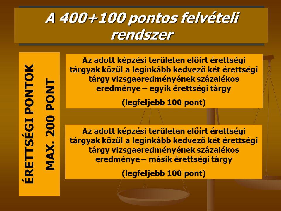 A 400+100 pontos felvételi rendszer ÉRETTSÉGI PONTOK MAX. 200 PONT Az adott képzési területen előírt érettségi tárgyak közül a leginkább kedvező két é