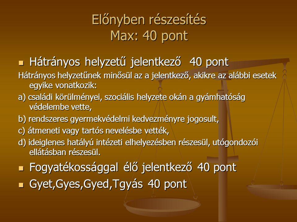 Előnyben részesítés Max: 40 pont Hátrányos helyzetű jelentkező 40 pont Hátrányos helyzetű jelentkező 40 pont Hátrányos helyzetűnek minősül az a jelent