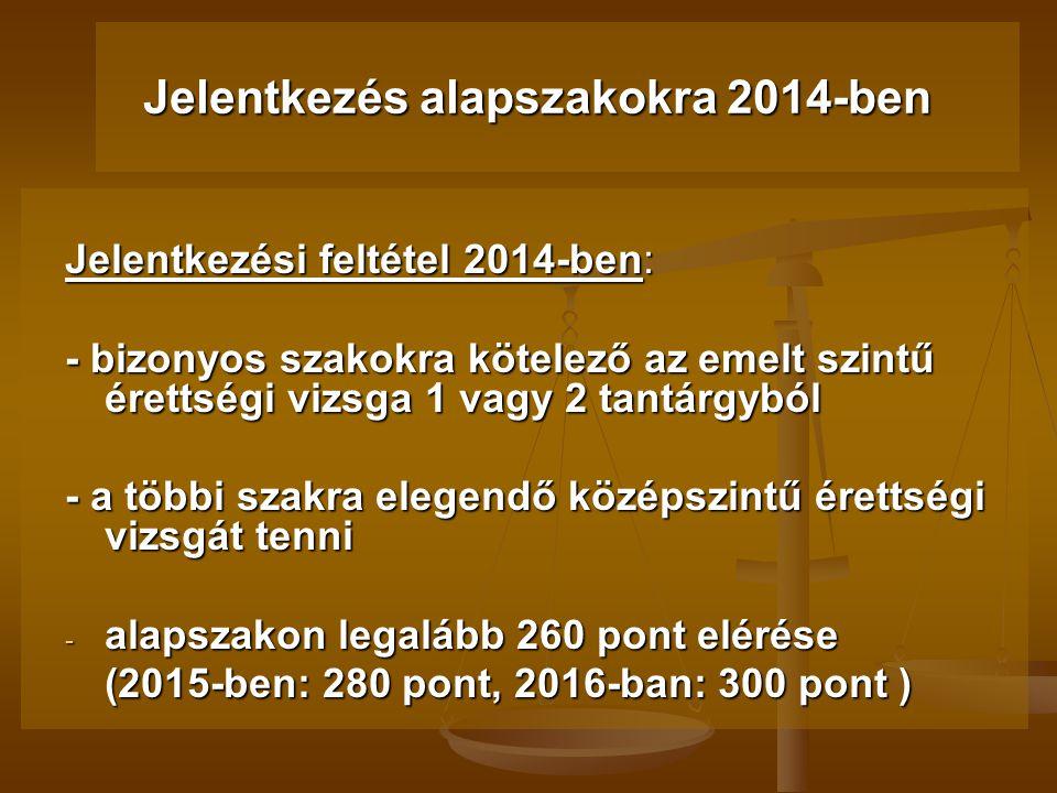 2014 Változások a felsőoktatási felvételi eljárásokban 2013.