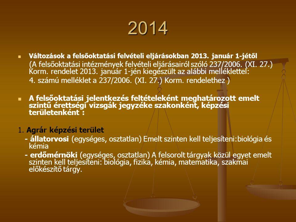 2014 Változások a felsőoktatási felvételi eljárásokban 2013. január 1-jétől (A felsőoktatási intézmények felvételi eljárásairól szóló 237/2006. (XI. 2