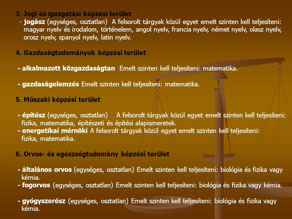3. Jogi és igazgatási képzési terület - jogász (egységes, osztatlan) A felsorolt tárgyak közül egyet emelt szinten kell teljesíteni: magyar nyelv és i