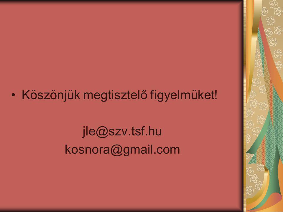 Köszönjük megtisztelő figyelmüket! jle@szv.tsf.hu kosnora@gmail.com