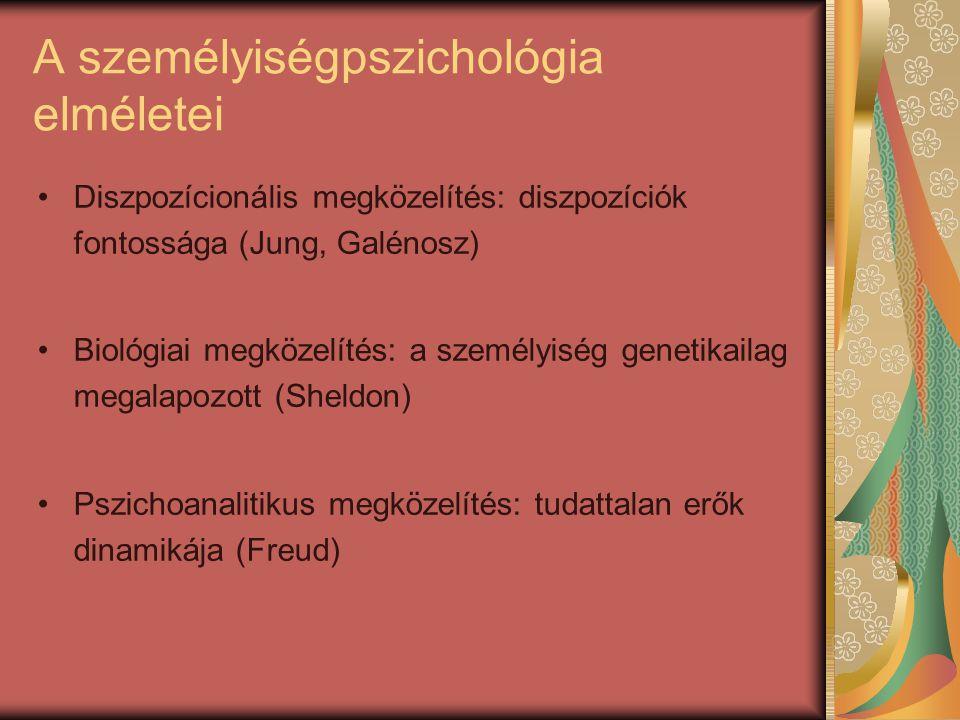 A személyiségpszichológia elméletei Diszpozícionális megközelítés: diszpozíciók fontossága (Jung, Galénosz) Biológiai megközelítés: a személyiség gene
