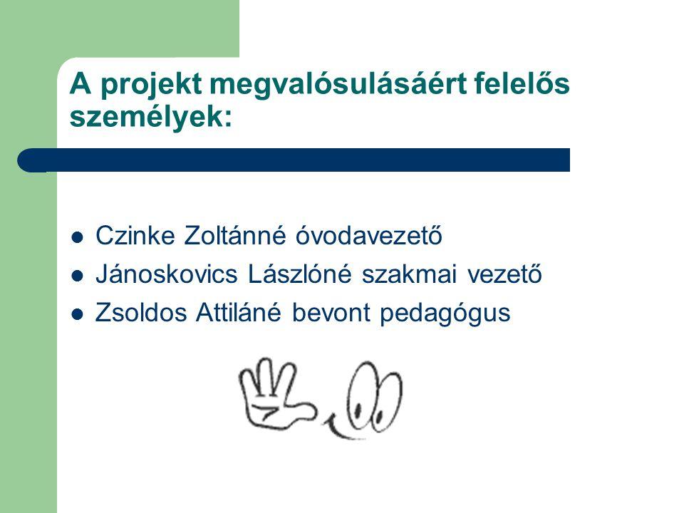 A projekt megvalósulásáért felelős személyek: Czinke Zoltánné óvodavezető Jánoskovics Lászlóné szakmai vezető Zsoldos Attiláné bevont pedagógus