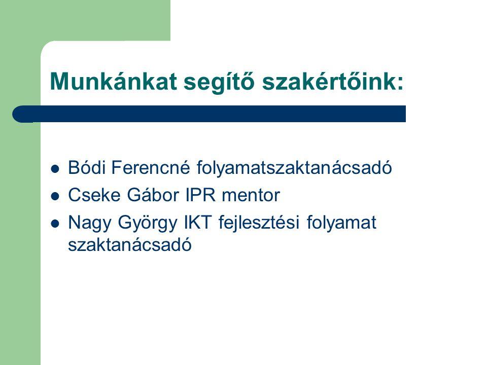 Munkánkat segítő szakértőink: Bódi Ferencné folyamatszaktanácsadó Cseke Gábor IPR mentor Nagy György IKT fejlesztési folyamat szaktanácsadó