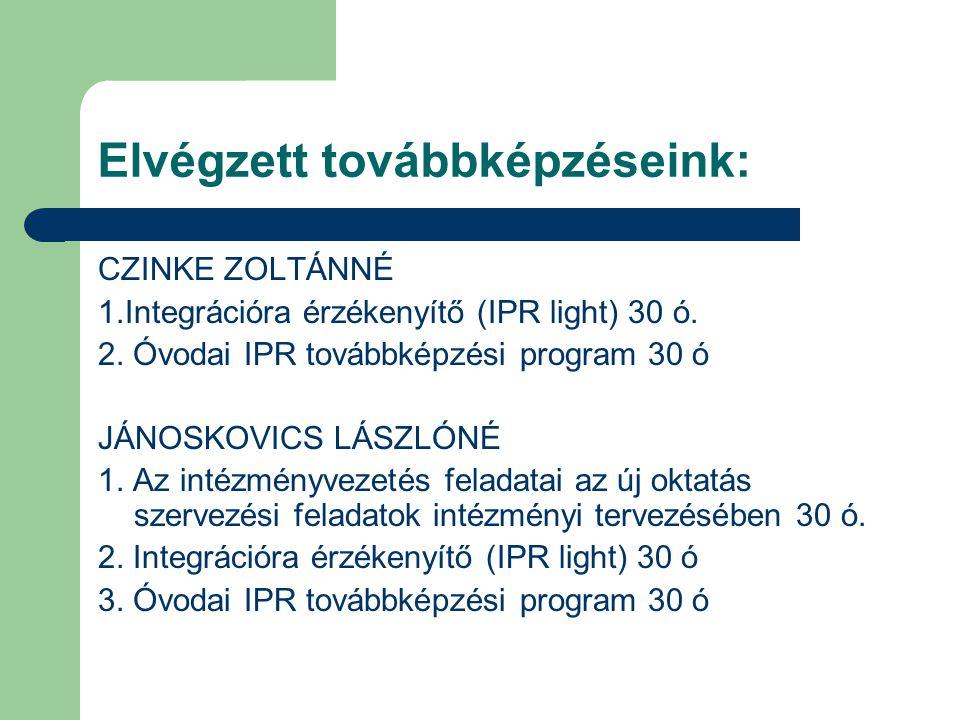 Elvégzett továbbképzéseink: CZINKE ZOLTÁNNÉ 1.Integrációra érzékenyítő (IPR light) 30 ó. 2. Óvodai IPR továbbképzési program 30 ó JÁNOSKOVICS LÁSZLÓNÉ