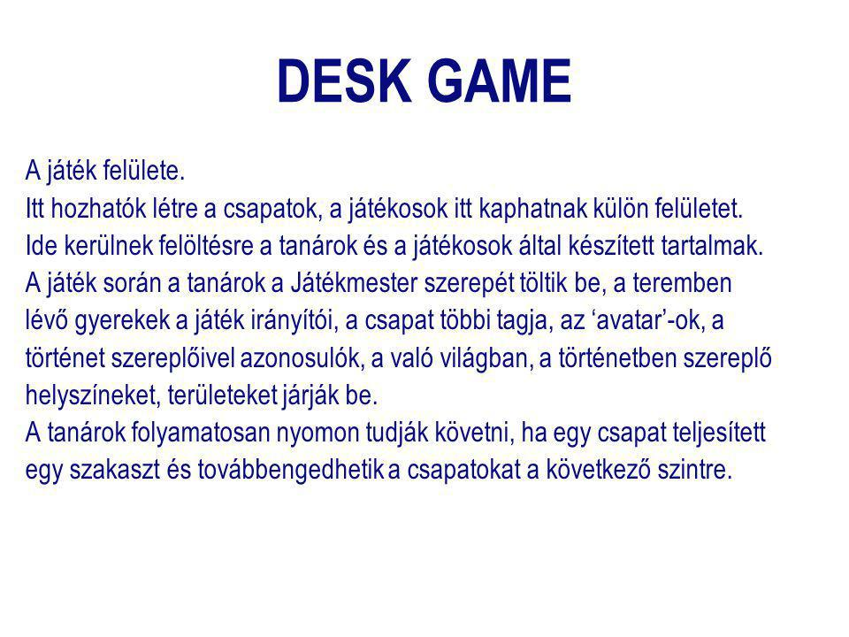 DESK GAME A játék felülete. Itt hozhatók létre a csapatok, a játékosok itt kaphatnak külön felületet. Ide kerülnek felöltésre a tanárok és a játékosok