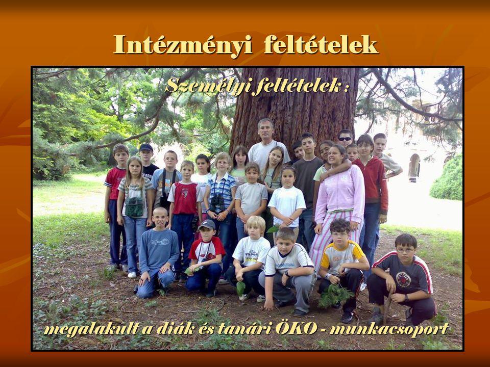 Intézményi feltételek megalakult a diák és tanári ÖKO - munkacsoport Személyi feltételek :
