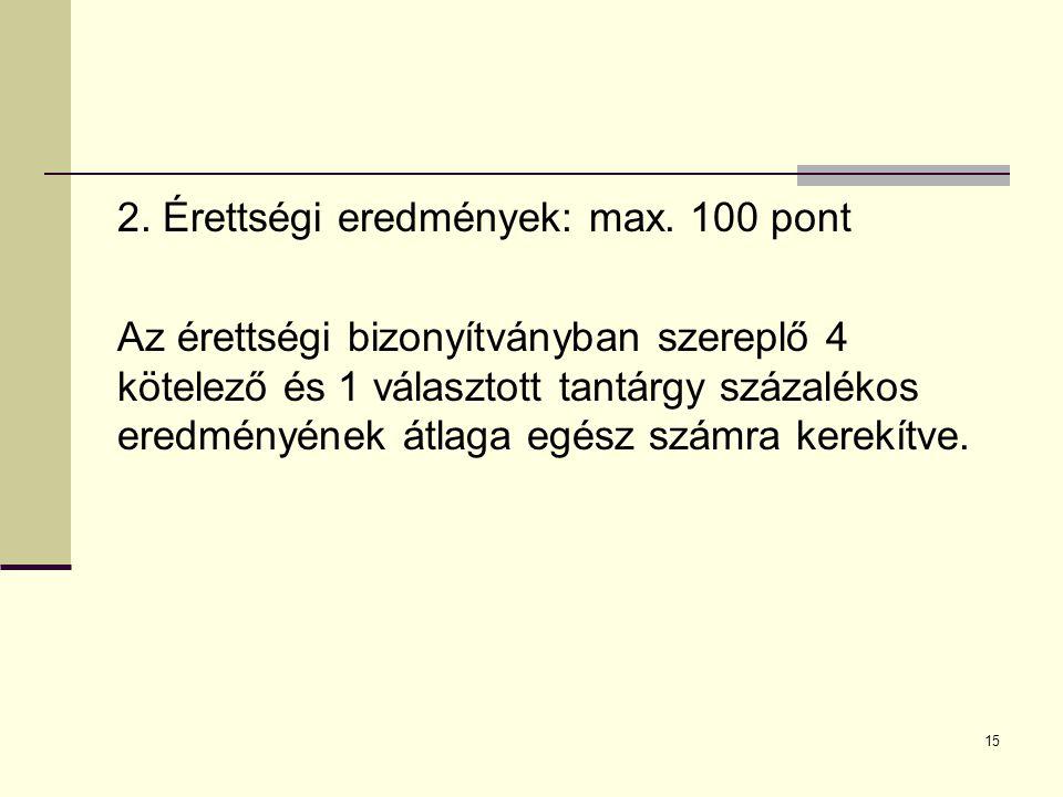 15 2.Érettségi eredmények: max.