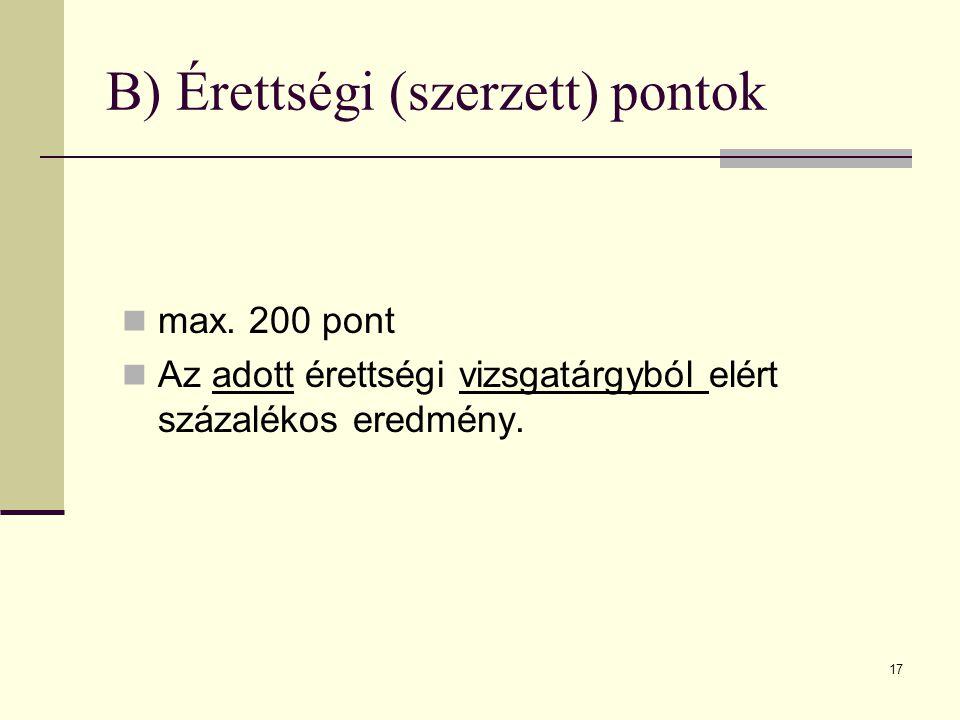 17 B) Érettségi (szerzett) pontok max.