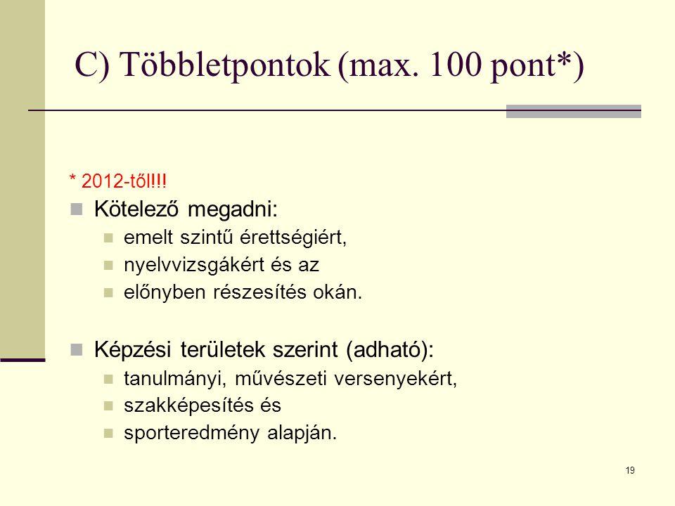 19 C) Többletpontok (max. 100 pont*) * 2012-től!!.