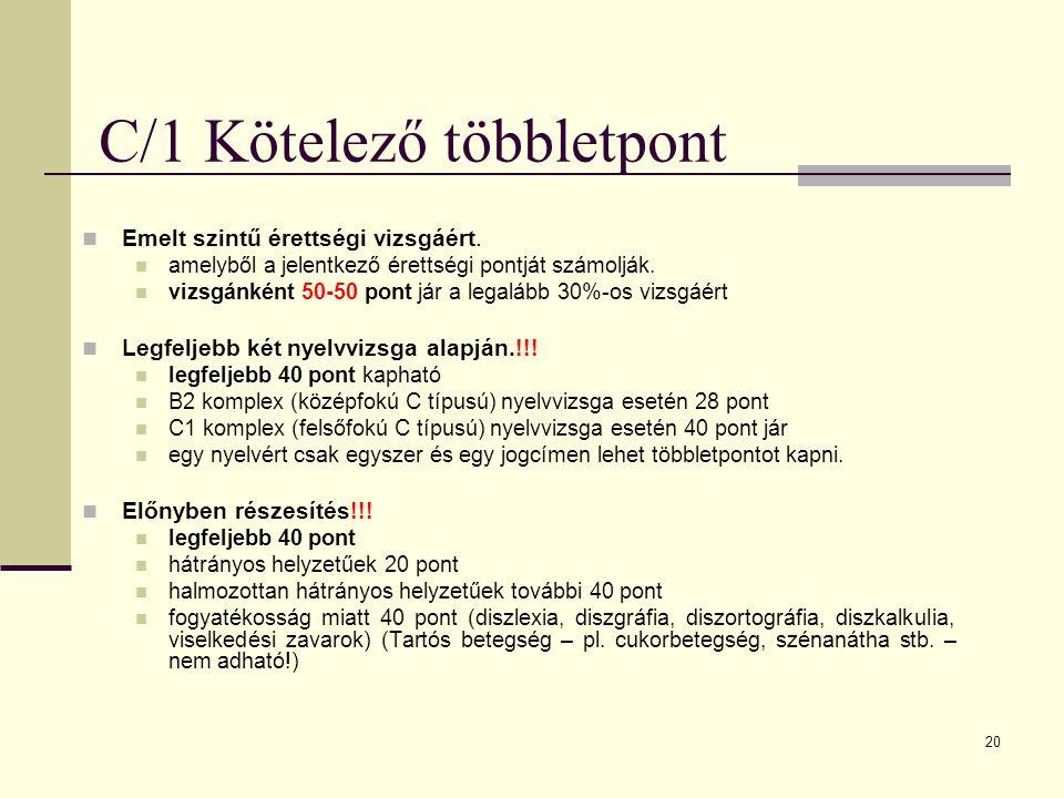 20 C/1 Kötelező többletpont Emelt szintű érettségi vizsgáért.
