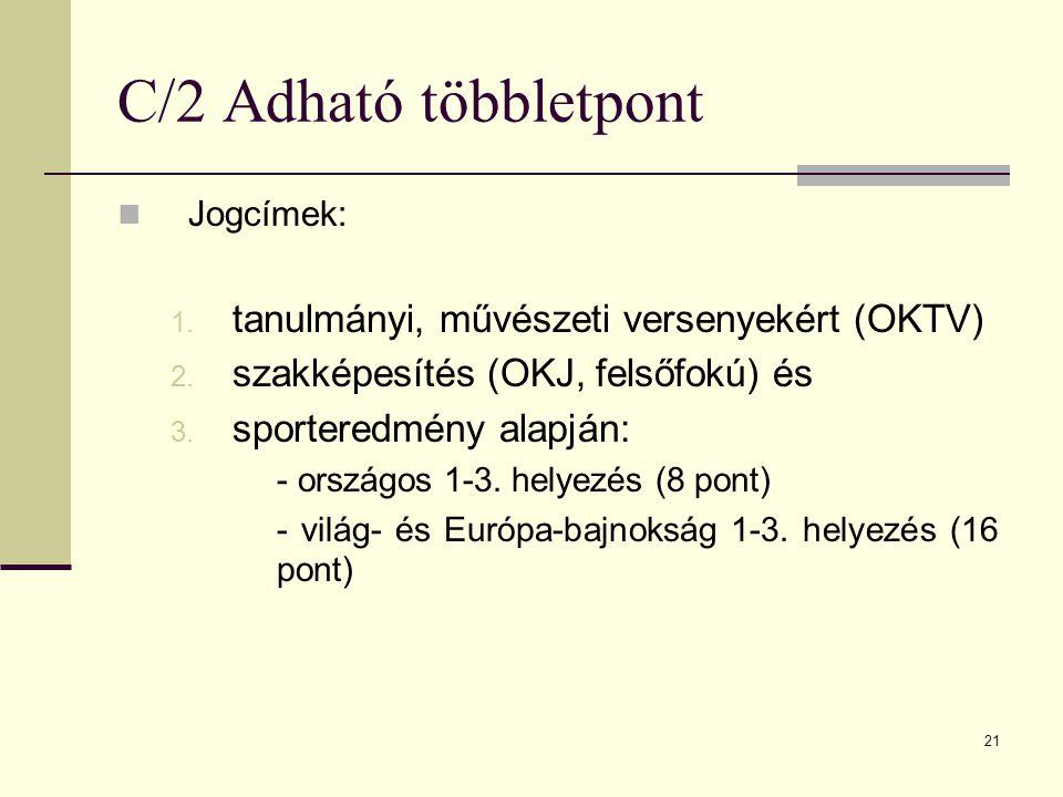 21 C/2 Adható többletpont Jogcímek: 1.tanulmányi, művészeti versenyekért (OKTV) 2.