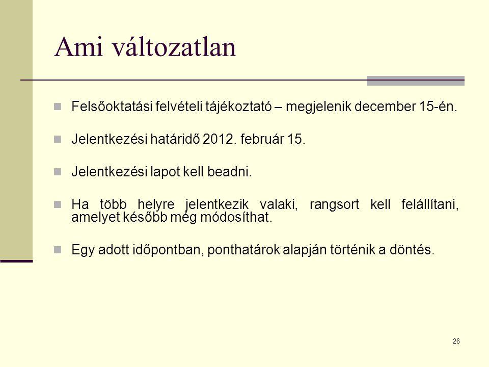26 Ami változatlan Felsőoktatási felvételi tájékoztató – megjelenik december 15-én.