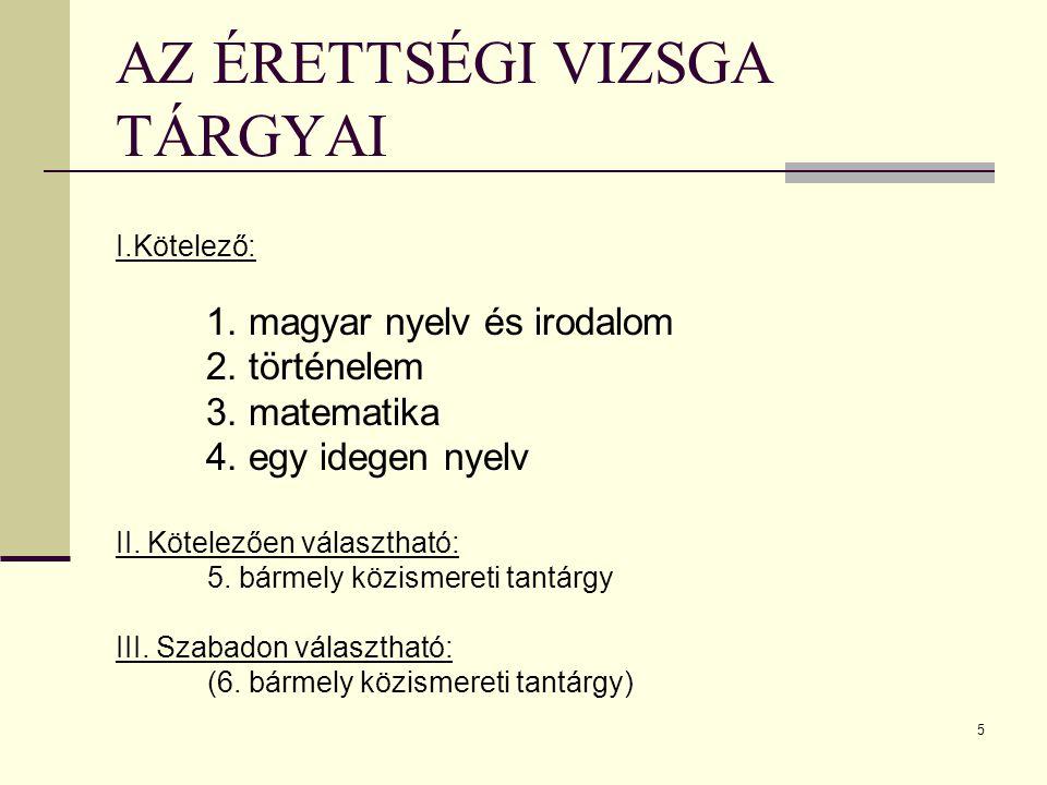 5 AZ ÉRETTSÉGI VIZSGA TÁRGYAI I.Kötelező: 1.magyar nyelv és irodalom 2.