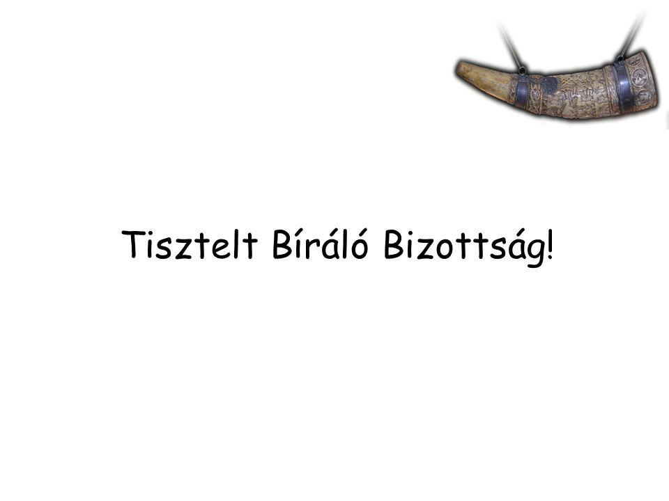 Tisztelt Bíráló Bizottság!