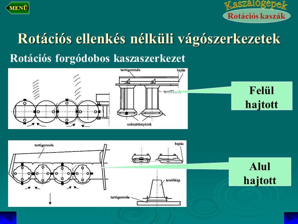 Rotációs ellenkés nélküli vágószerkezetek Rotációs forgódobos kaszaszerkezet Felül hajtott Alul hajtott Rotációs kaszák MENÜ