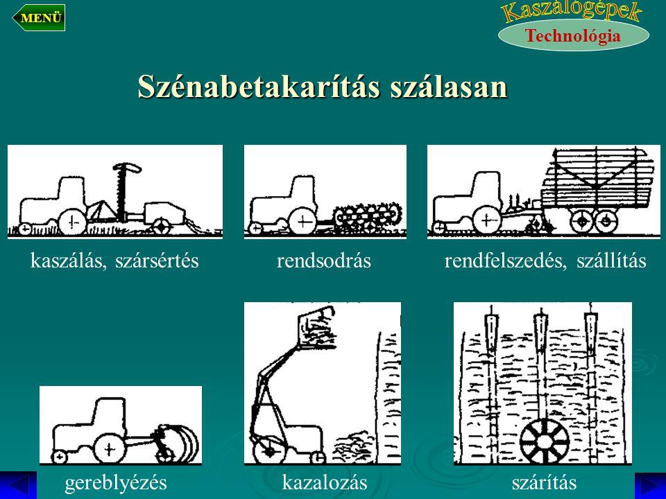 Szénabetakarítás szálasan kaszálás, szársértésrendsodrásrendfelszedés, szállítás gereblyézéskazalozásszárítás Technológia MENÜ