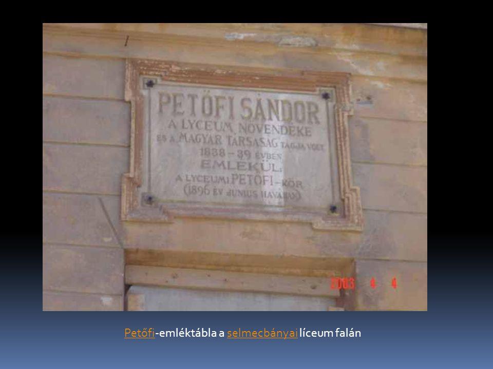 PetőfiPetőfi-emléktábla a selmecbányai líceum falánselmecbányai