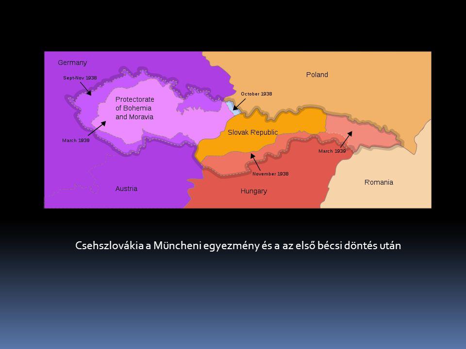 Csehszlovákia a Müncheni egyezmény és a az első bécsi döntés után