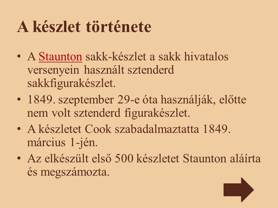A készlet története A Staunton sakk-készlet a sakk hivatalos versenyein használt sztenderd sakkfigurakészlet.Staunton 1849. szeptember 29-e óta haszná
