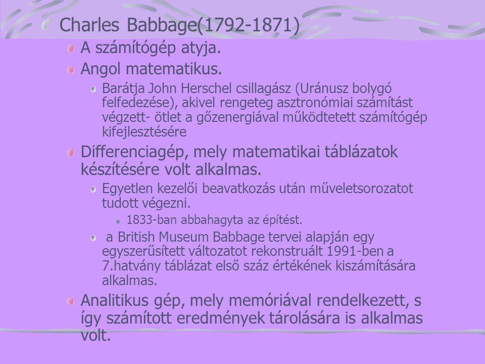 Charles Babbage(1792-1871) A számítógép atyja. Angol matematikus. Barátja John Herschel csillagász (Uránusz bolygó felfedezése), akivel rengeteg asztr