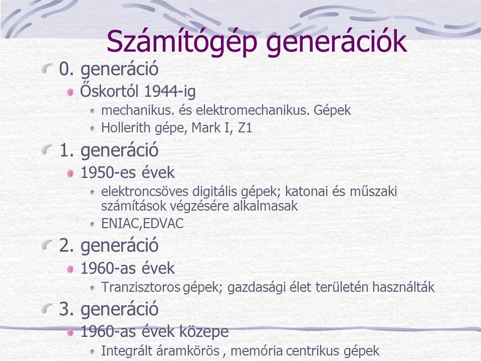 Számítógép generációk 0. generáció Őskortól 1944-ig mechanikus. és elektromechanikus. Gépek Hollerith gépe, Mark I, Z1 1. generáció 1950-es évek elekt