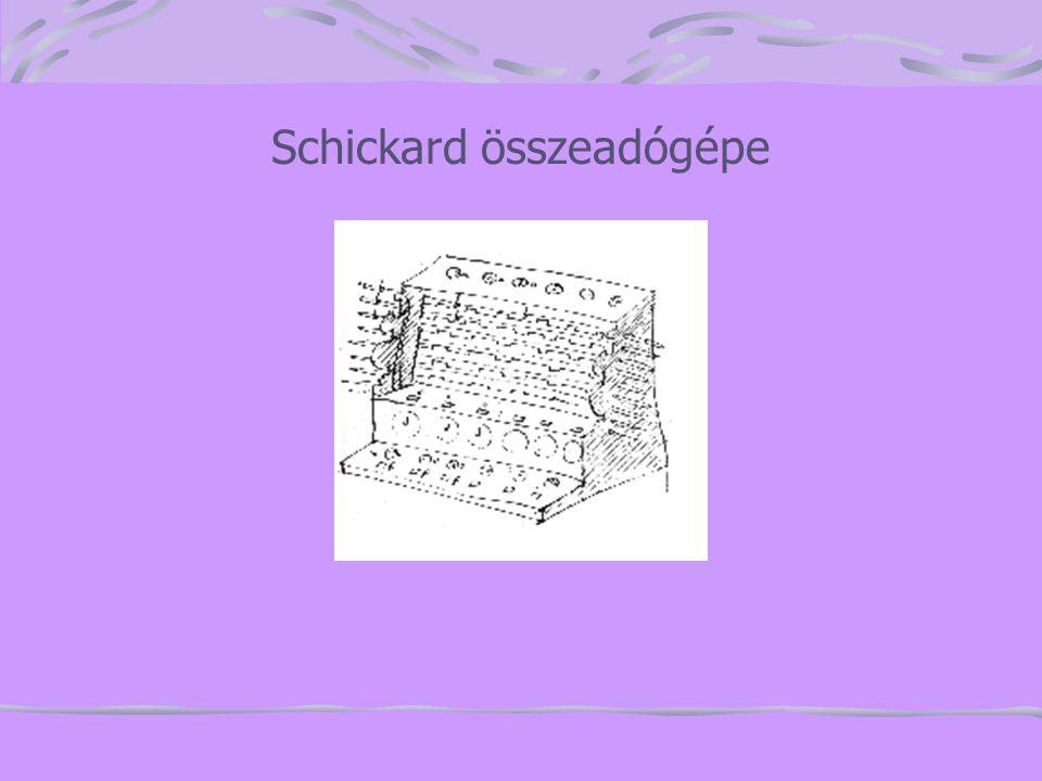 Pascal(1623-1662) 19 évesen apja adószámításait megkönnyítő gépet épített.