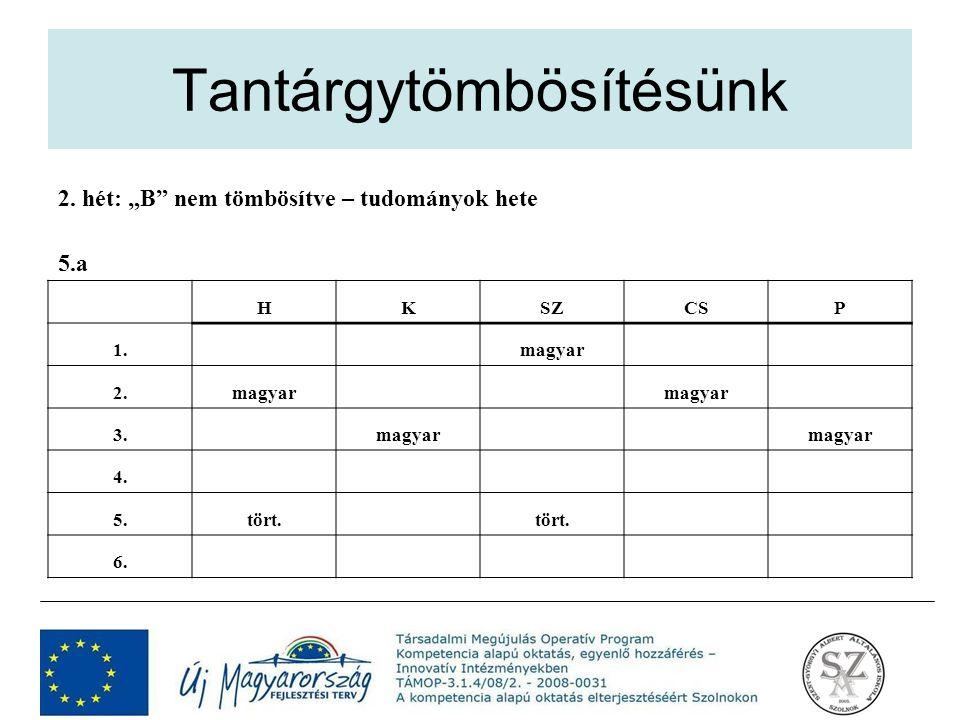 """2. hét: """"B"""" nem tömbösítve – tudományok hete 5.a HKSZCSP 1. magyar 2.magyar 3. magyar 4. 5.tört. 6."""