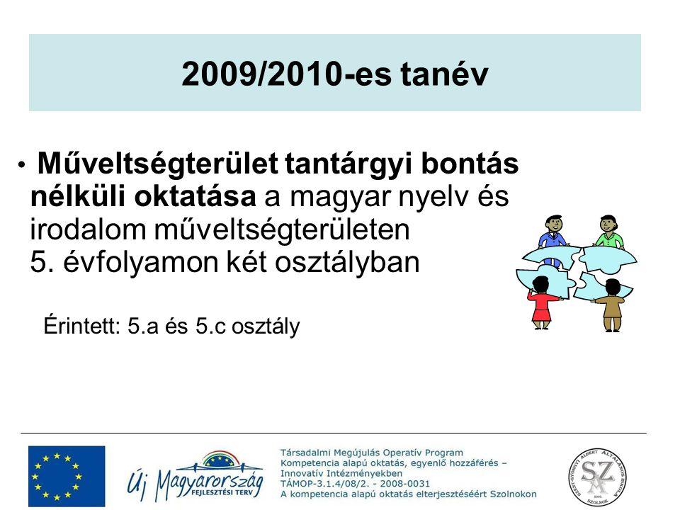 Műveltségterület tantárgyi bontás nélküli oktatása a magyar nyelv és irodalom műveltségterületen 5. évfolyamon két osztályban Érintett: 5.a és 5.c osz