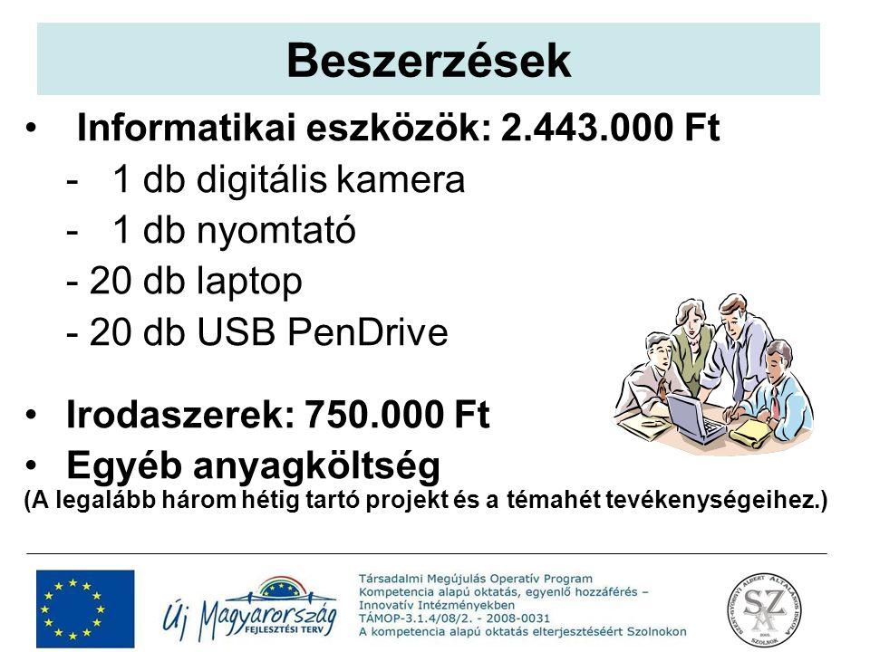 Informatikai eszközök: 2.443.000 Ft - 1 db digitális kamera - 1 db nyomtató - 20 db laptop - 20 db USB PenDrive Irodaszerek: 750.000 Ft Egyéb anyagköl