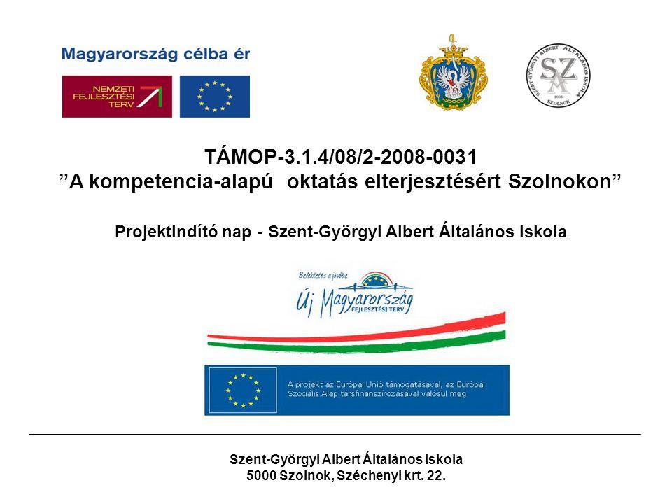 Társadalmi Megújulás Operatív Program Kompetencia alapú oktatás, egyenlő hozzáférés – Innovatív intézményekben TÁMOP 3.1.4/08/2.