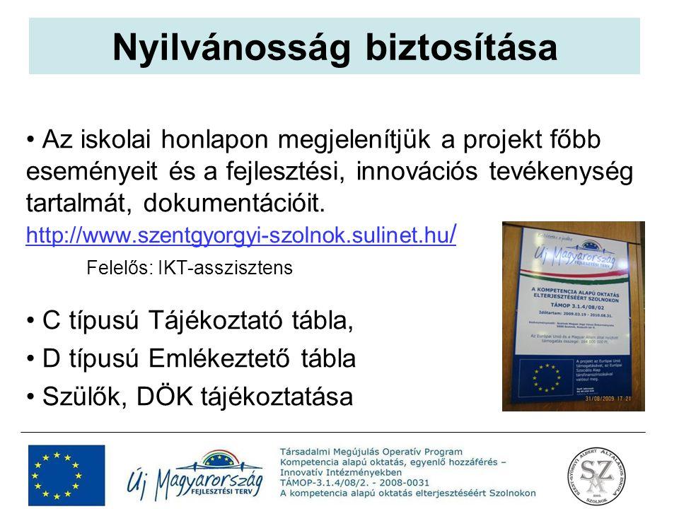 Az iskolai honlapon megjelenítjük a projekt főbb eseményeit és a fejlesztési, innovációs tevékenység tartalmát, dokumentációit. http://www.szentgyorgy
