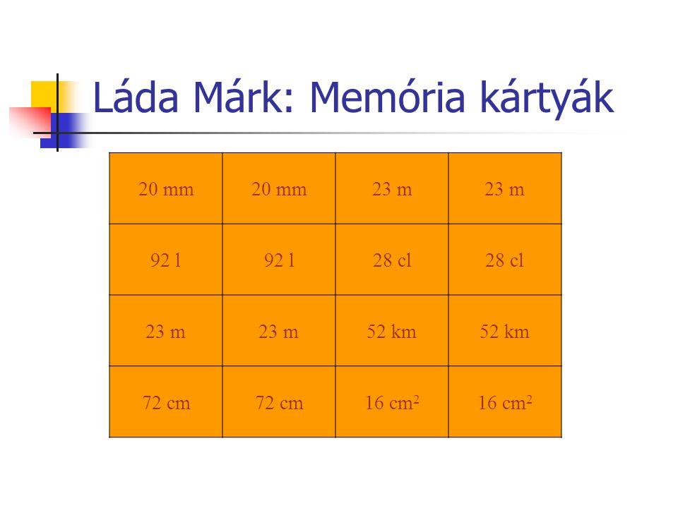 Láda Márk: Memória kártyák 20 mm 23 m 92 l 28 cl 23 m 52 km 72 cm 16 cm 2