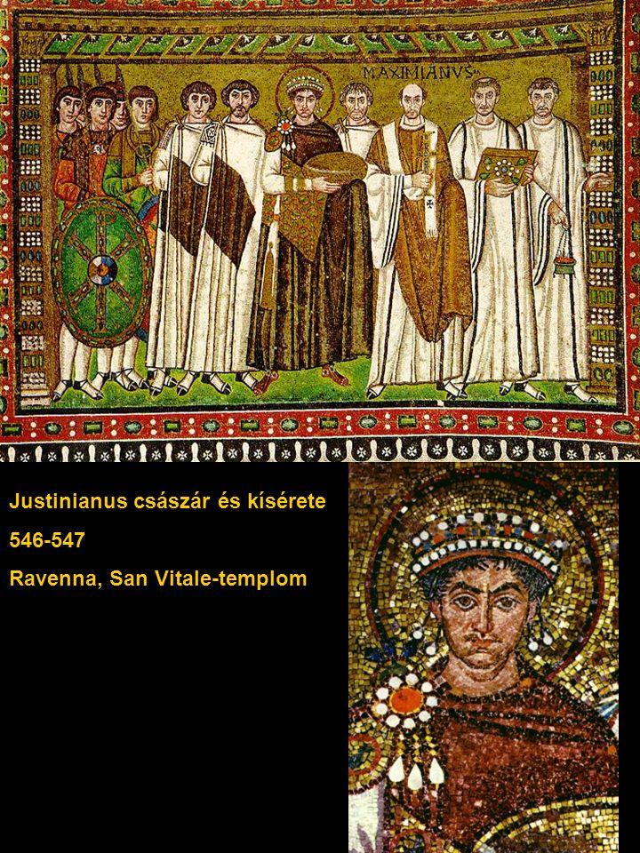 Justinianus császár és kísérete 546-547 Ravenna, San Vitale-templom