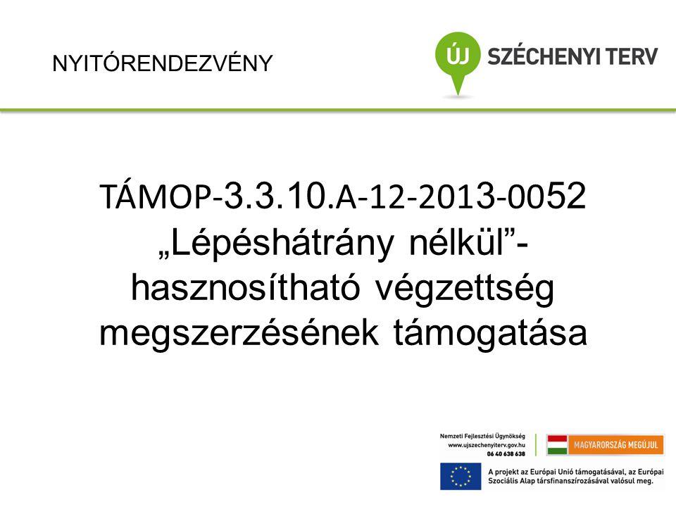 """TÁMOP- 3.3.10.A-12-201 3 -00 52 """"Lépéshátrány nélkül""""- hasznosítható végzettség megszerzésének támogatása NYITÓRENDEZVÉNY"""