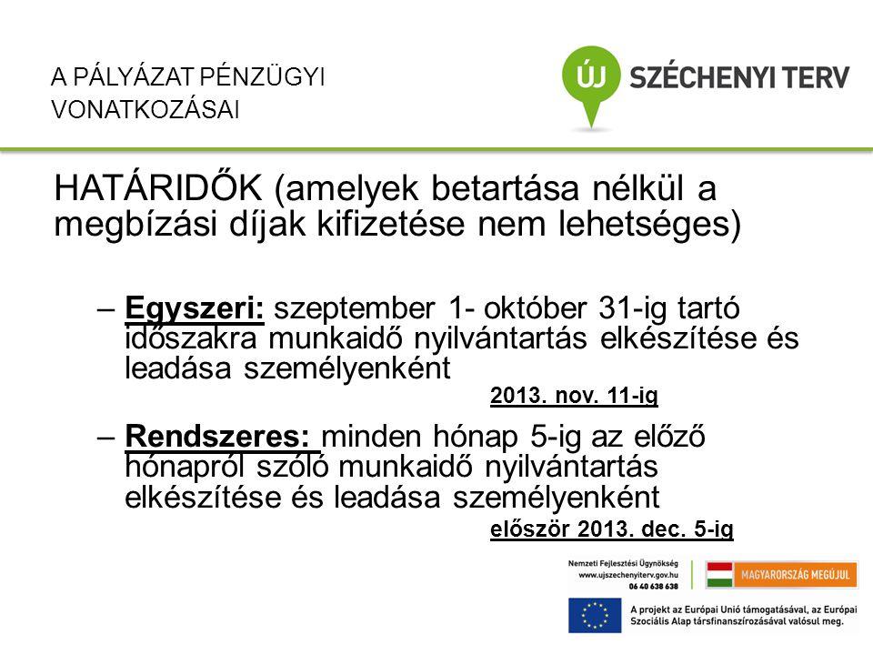 HATÁRIDŐK (amelyek betartása nélkül a megbízási díjak kifizetése nem lehetséges) –Egyszeri: szeptember 1- október 31-ig tartó időszakra munkaidő nyilv