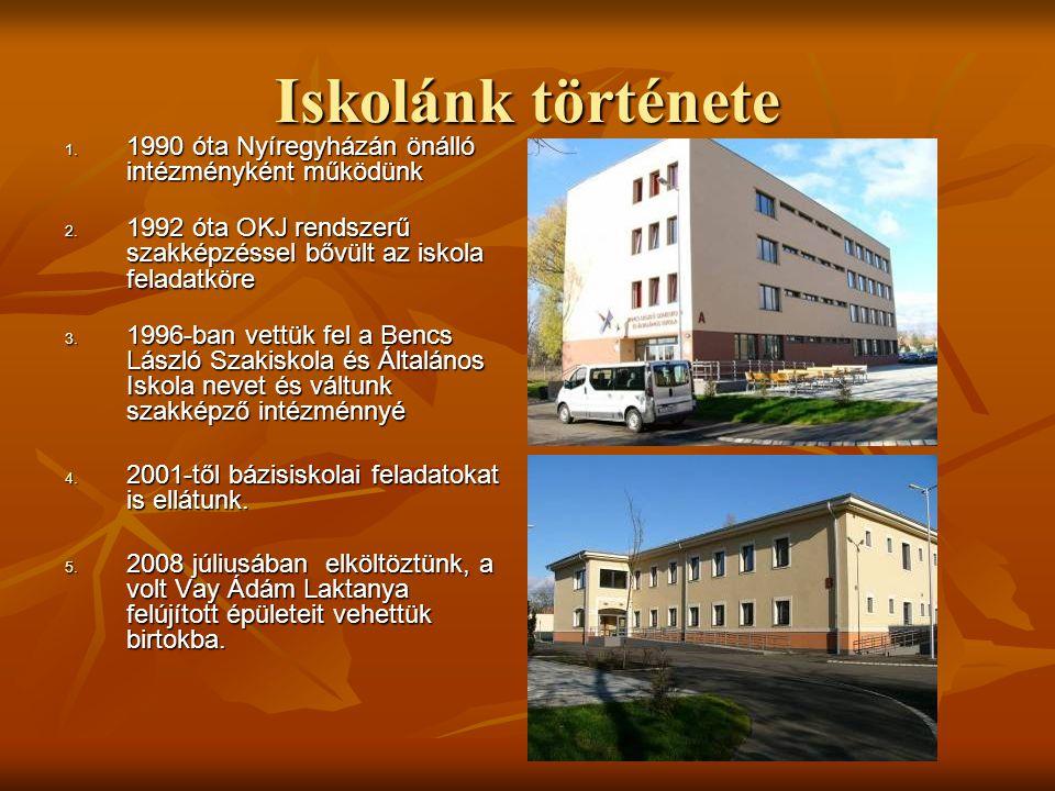 Iskolánk története 1. 1990 óta Nyíregyházán önálló intézményként működünk 2. 1992 óta OKJ rendszerű szakképzéssel bővült az iskola feladatköre 3. 1996